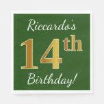 [ Thumbnail: Green, Faux Gold 14th Birthday + Custom Name Paper Napkin ]