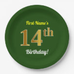 [ Thumbnail: Green, Faux Gold 14th Birthday + Custom Name Paper Plate ]