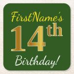 [ Thumbnail: Green, Faux Gold 14th Birthday + Custom Name Paper Coaster ]