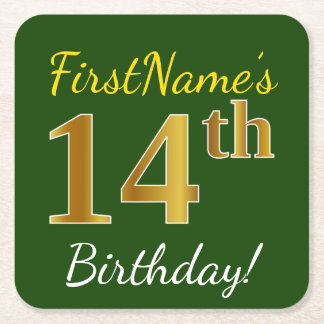 Green, Faux Gold 14th Birthday + Custom Name Square Paper Coaster