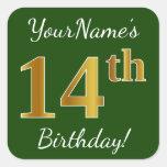 [ Thumbnail: Green, Faux Gold 14th Birthday + Custom Name Sticker ]