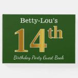 [ Thumbnail: Green, Faux Gold 14th Birthday Party + Custom Name Guest Book ]