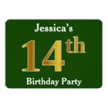 [ Thumbnail: Green, Faux Gold 14th Birthday Party + Custom Name Invitation ]