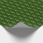 [ Thumbnail: Green, Faux Gold 14th (Fourteenth) Event Wrapping Paper ]