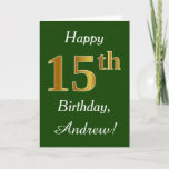 [ Thumbnail: Green, Faux Gold 15th Birthday + Custom Name Card ]