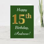 [ Thumbnail: Green, Faux Gold 15th Birthday + Custom Name Card ]