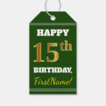 [ Thumbnail: Green, Faux Gold 15th Birthday + Custom Name Gift Tags ]