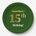 [ Thumbnail: Green, Faux Gold 15th Birthday + Custom Name Paper Plate ]