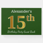 [ Thumbnail: Green, Faux Gold 15th Birthday Party + Custom Name Guest Book ]