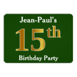 [ Thumbnail: Green, Faux Gold 15th Birthday Party + Custom Name Invitation ]