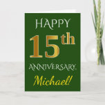 [ Thumbnail: Green, Faux Gold 15th Wedding Anniversary + Name Card ]
