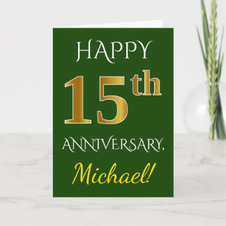 Green, Faux Gold 15th Wedding Anniversary   Name Card