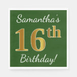[ Thumbnail: Green, Faux Gold 16th Birthday + Custom Name Napkin ]