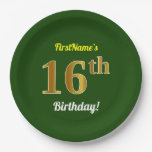 [ Thumbnail: Green, Faux Gold 16th Birthday + Custom Name Paper Plate ]