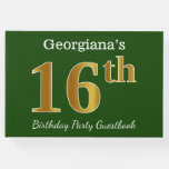 [ Thumbnail: Green, Faux Gold 16th Birthday Party + Custom Name Guest Book ]