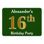 [ Thumbnail: Green, Faux Gold 16th Birthday Party + Custom Name Invitation ]