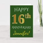 [ Thumbnail: Green, Faux Gold 16th Wedding Anniversary + Name Card ]