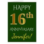 [ Thumbnail: Green, Faux Gold 16th Wedding Anniversary + Name Card ]