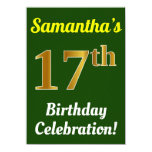 [ Thumbnail: Green, Faux Gold 17th Birthday Celebration + Name Invitation ]
