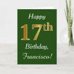 [ Thumbnail: Green, Faux Gold 17th Birthday + Custom Name Card ]
