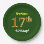 [ Thumbnail: Green, Faux Gold 17th Birthday + Custom Name Paper Plate ]