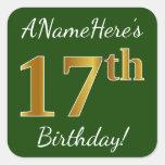 [ Thumbnail: Green, Faux Gold 17th Birthday + Custom Name Sticker ]