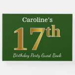 [ Thumbnail: Green, Faux Gold 17th Birthday Party + Custom Name Guest Book ]