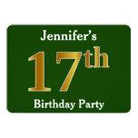 [ Thumbnail: Green, Faux Gold 17th Birthday Party + Custom Name Invitation ]