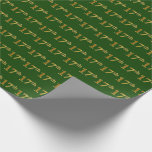 [ Thumbnail: Green, Faux Gold 17th (Seventeenth) Event Wrapping Paper ]