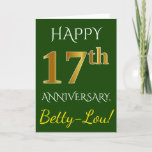 [ Thumbnail: Green, Faux Gold 17th Wedding Anniversary + Name Card ]