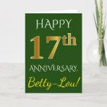 [ Thumbnail: Green, Faux Gold 17th Wedding Anniversary + Name Card ]