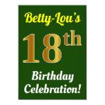 [ Thumbnail: Green, Faux Gold 18th Birthday Celebration + Name Invitation ]