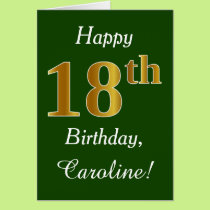 Green, Faux Gold 18th Birthday   Custom Name Card
