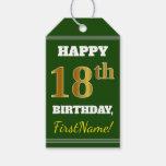 [ Thumbnail: Green, Faux Gold 18th Birthday + Custom Name Gift Tags ]
