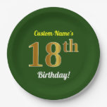 [ Thumbnail: Green, Faux Gold 18th Birthday + Custom Name Paper Plate ]