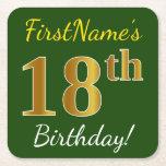 [ Thumbnail: Green, Faux Gold 18th Birthday + Custom Name Paper Coaster ]