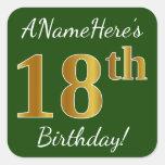 [ Thumbnail: Green, Faux Gold 18th Birthday + Custom Name Sticker ]