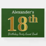 [ Thumbnail: Green, Faux Gold 18th Birthday Party + Custom Name Guest Book ]