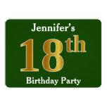 [ Thumbnail: Green, Faux Gold 18th Birthday Party + Custom Name Invitation ]