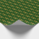 [ Thumbnail: Green, Faux Gold 18th (Eighteenth) Event Wrapping Paper ]