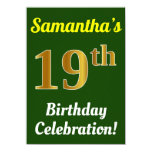 [ Thumbnail: Green, Faux Gold 19th Birthday Celebration + Name Invitation ]