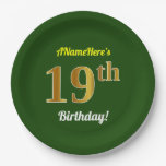 [ Thumbnail: Green, Faux Gold 19th Birthday + Custom Name Paper Plate ]