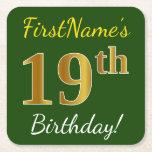 [ Thumbnail: Green, Faux Gold 19th Birthday + Custom Name Paper Coaster ]