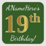 [ Thumbnail: Green, Faux Gold 19th Birthday + Custom Name Sticker ]