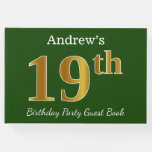 [ Thumbnail: Green, Faux Gold 19th Birthday Party + Custom Name Guest Book ]