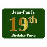 [ Thumbnail: Green, Faux Gold 19th Birthday Party + Custom Name Invitation ]
