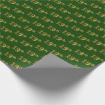 [ Thumbnail: Green, Faux Gold 19th (Nineteenth) Event Wrapping Paper ]