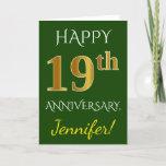 [ Thumbnail: Green, Faux Gold 19th Wedding Anniversary + Name Card ]