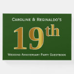 [ Thumbnail: Green, Faux Gold 19th Wedding Anniversary Party Guest Book ]