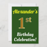 [ Thumbnail: Green, Faux Gold 1st Birthday Celebration + Name Invitation ]